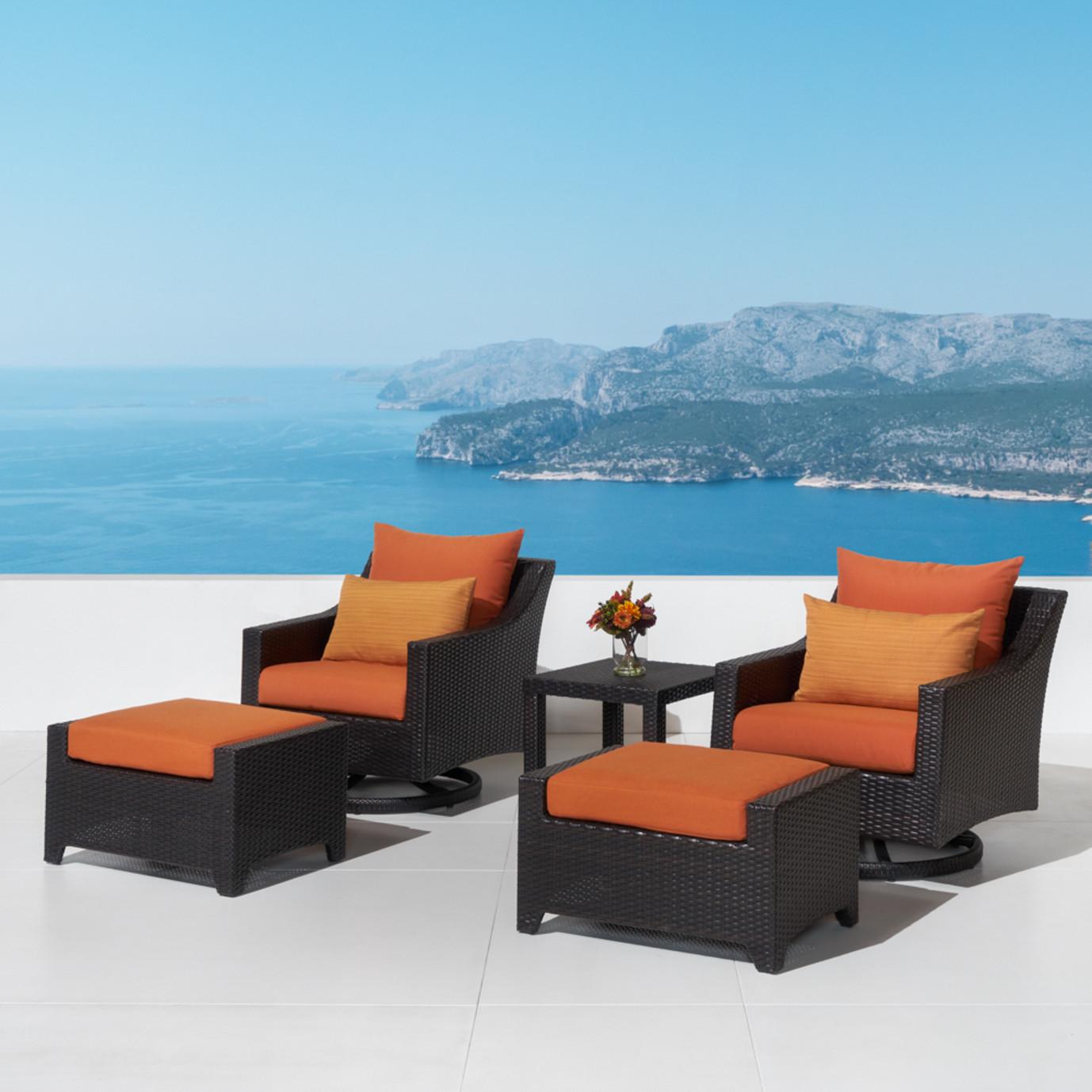 Deco 5 Piece Motion Club & Ottoman Set - Tikka Orange