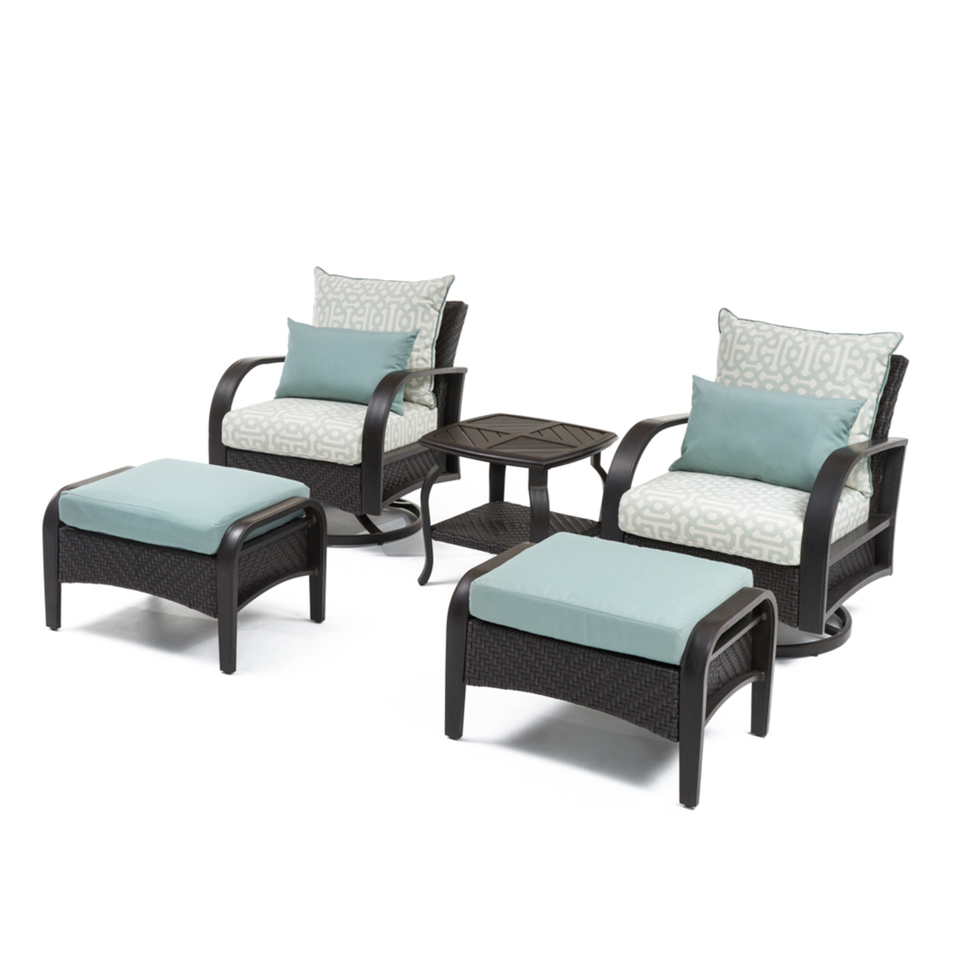 Barcelo™ 5pc Deluxe Motion Club & Ottoman Set - Spa Blue