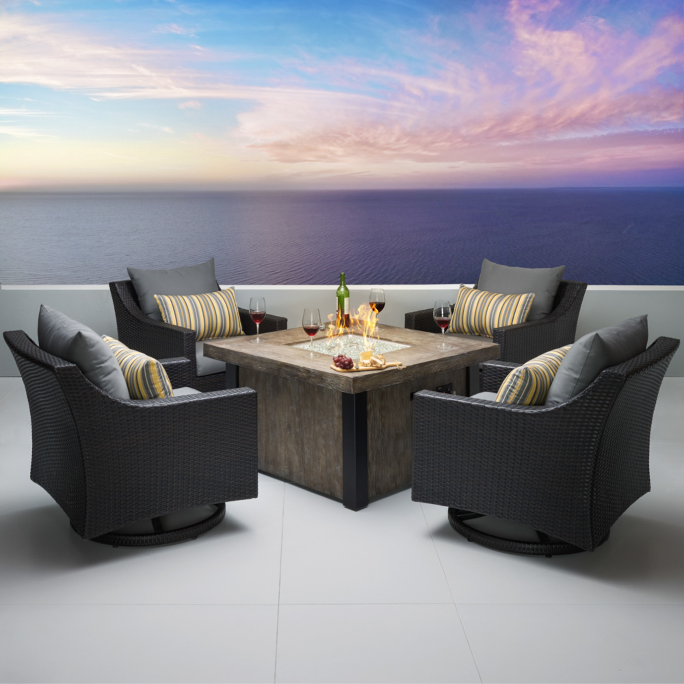 Deco™ 5 Piece Motion Fire Chat Set - Charcoal Gray