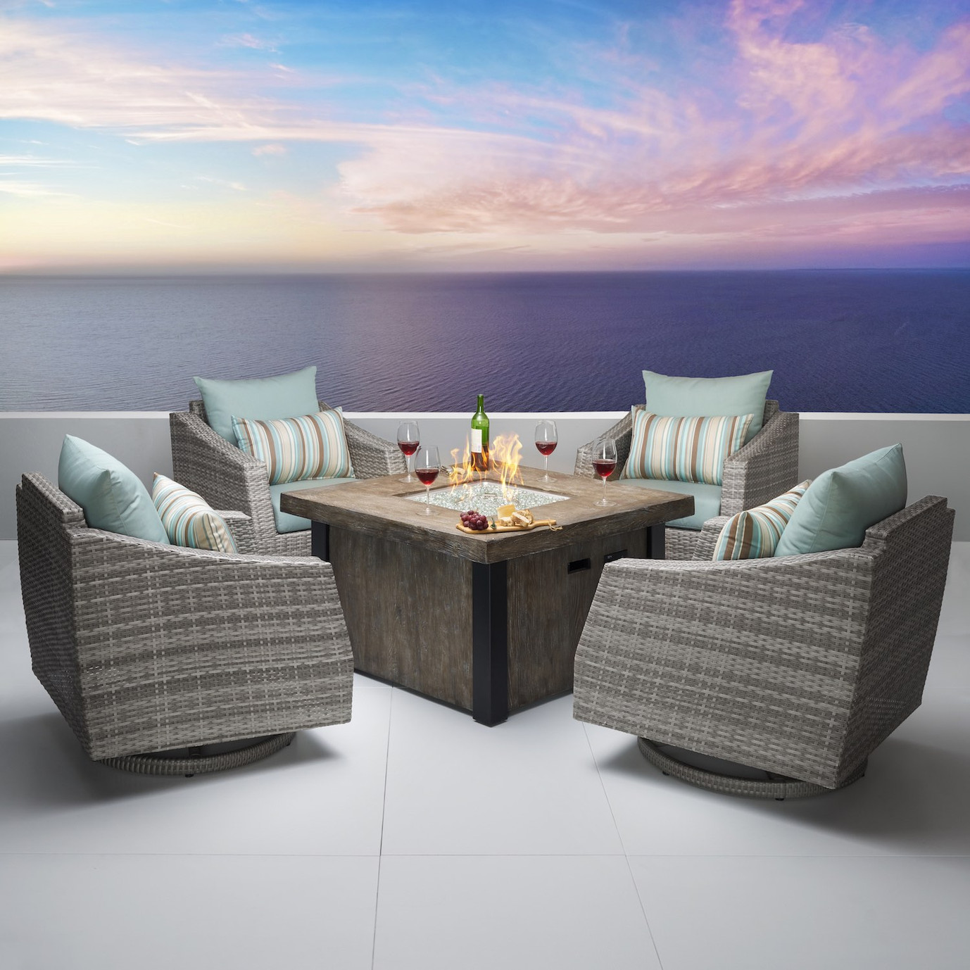 Cannes™ 5pc Motion Fire Chat Set in Bliss Blue