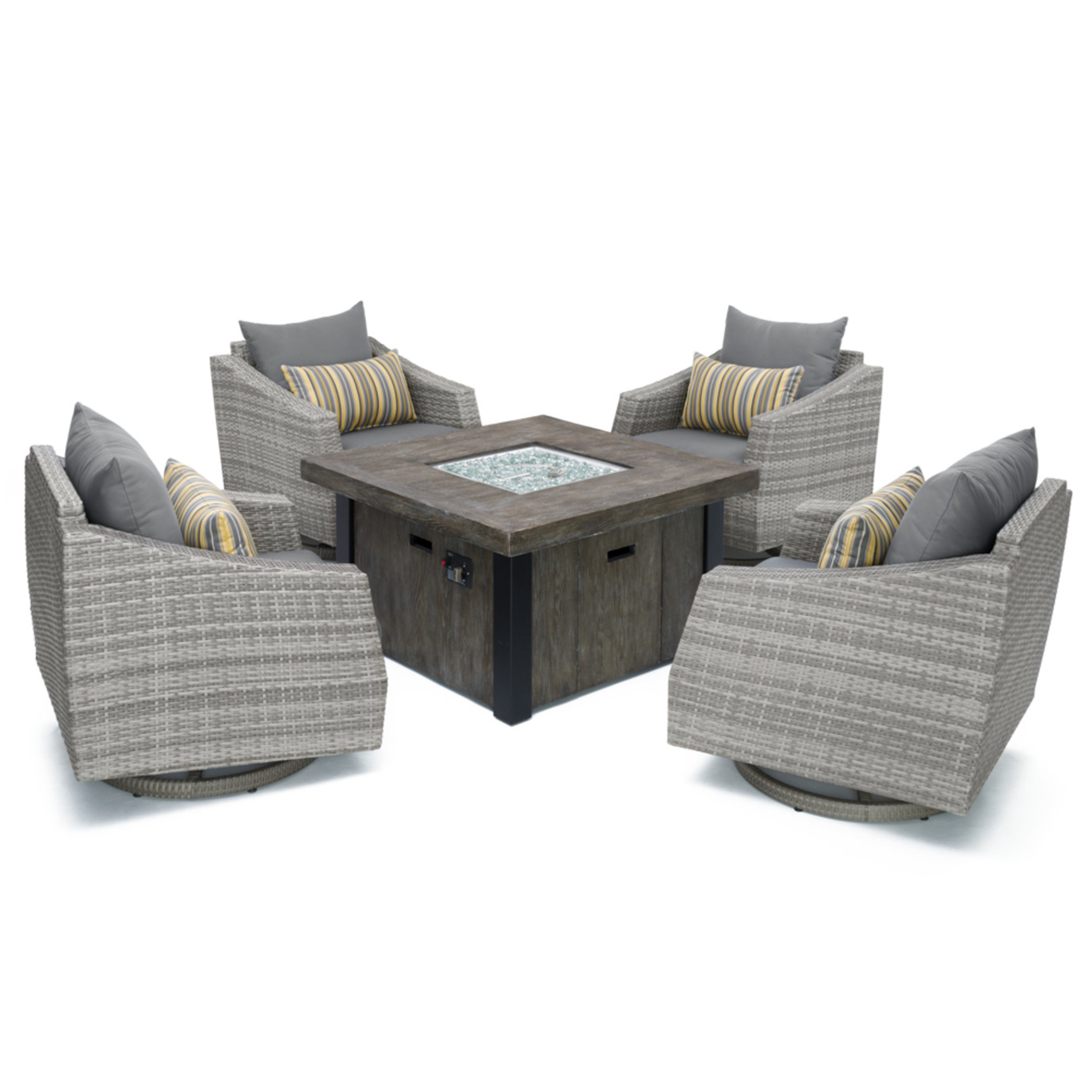 Cannes™ 5pc Motion Fire Chat Set - Charcoal Gray