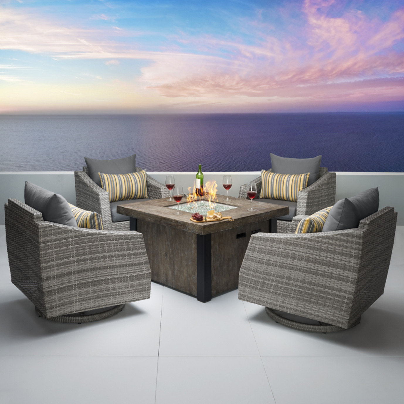 Cannes™ 5 Piece Motion Fire Chat Set - Charcoal Gray