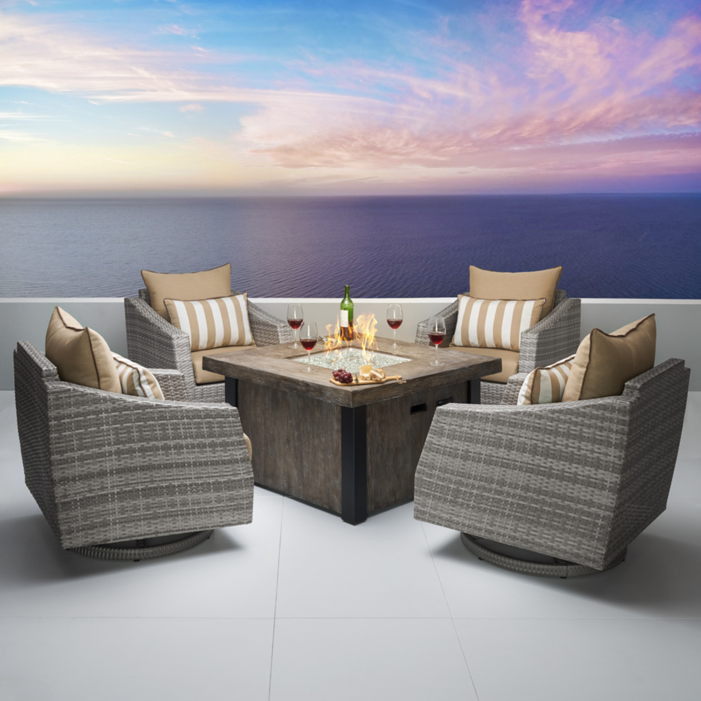 Cannes™ 5pc Motion Fire Chat Set - Maxim Beige