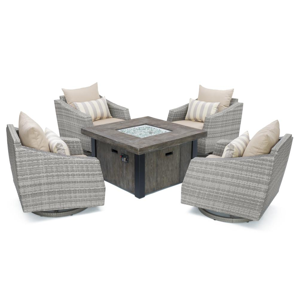 Cannes 5pc Motion Fire Chat Set - Slate Grey