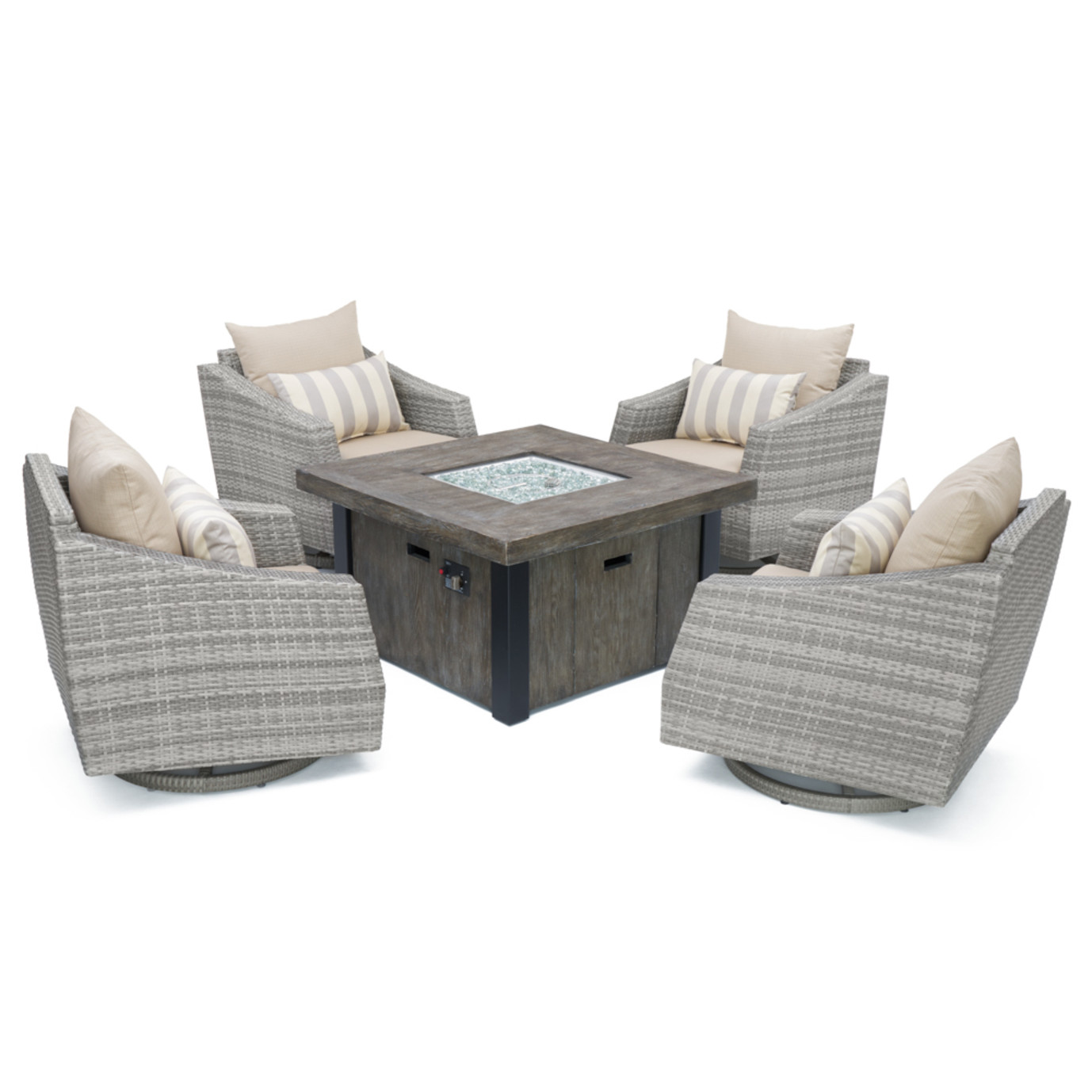 Cannes™ 5pc Motion Fire Chat Set in Slate Grey