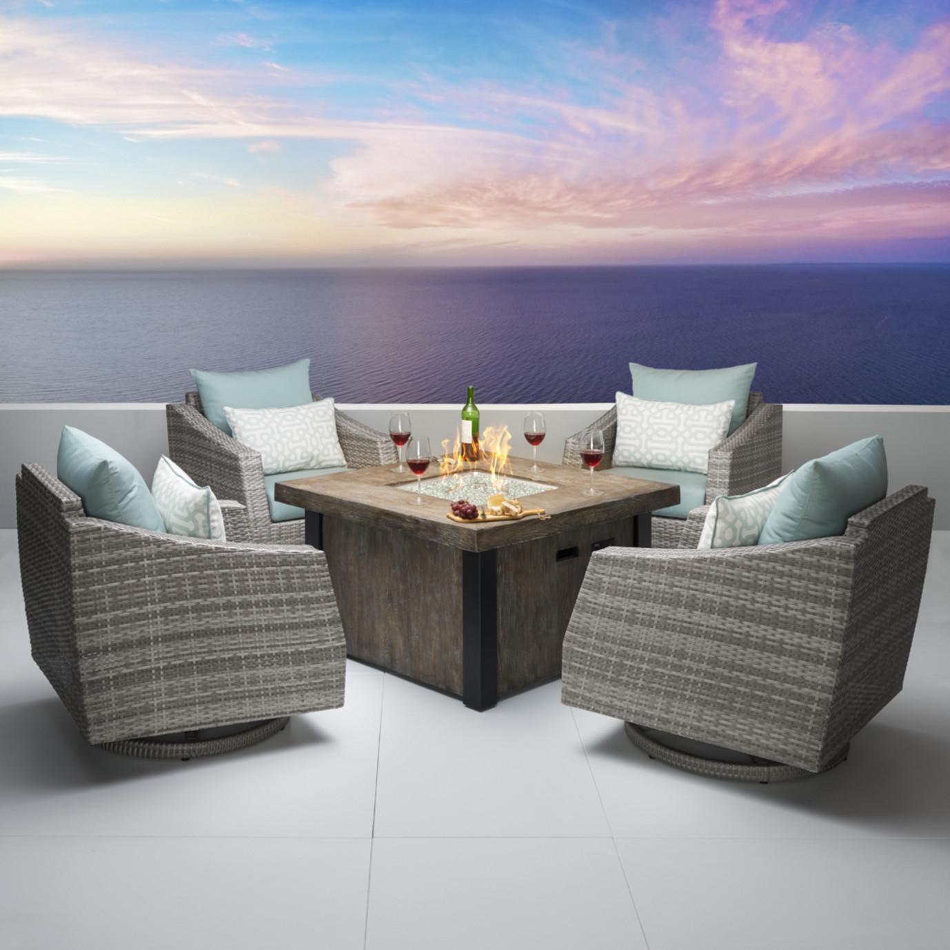 Cannes™ 5 Piece Motion Fire Chat Set - Spa Blue