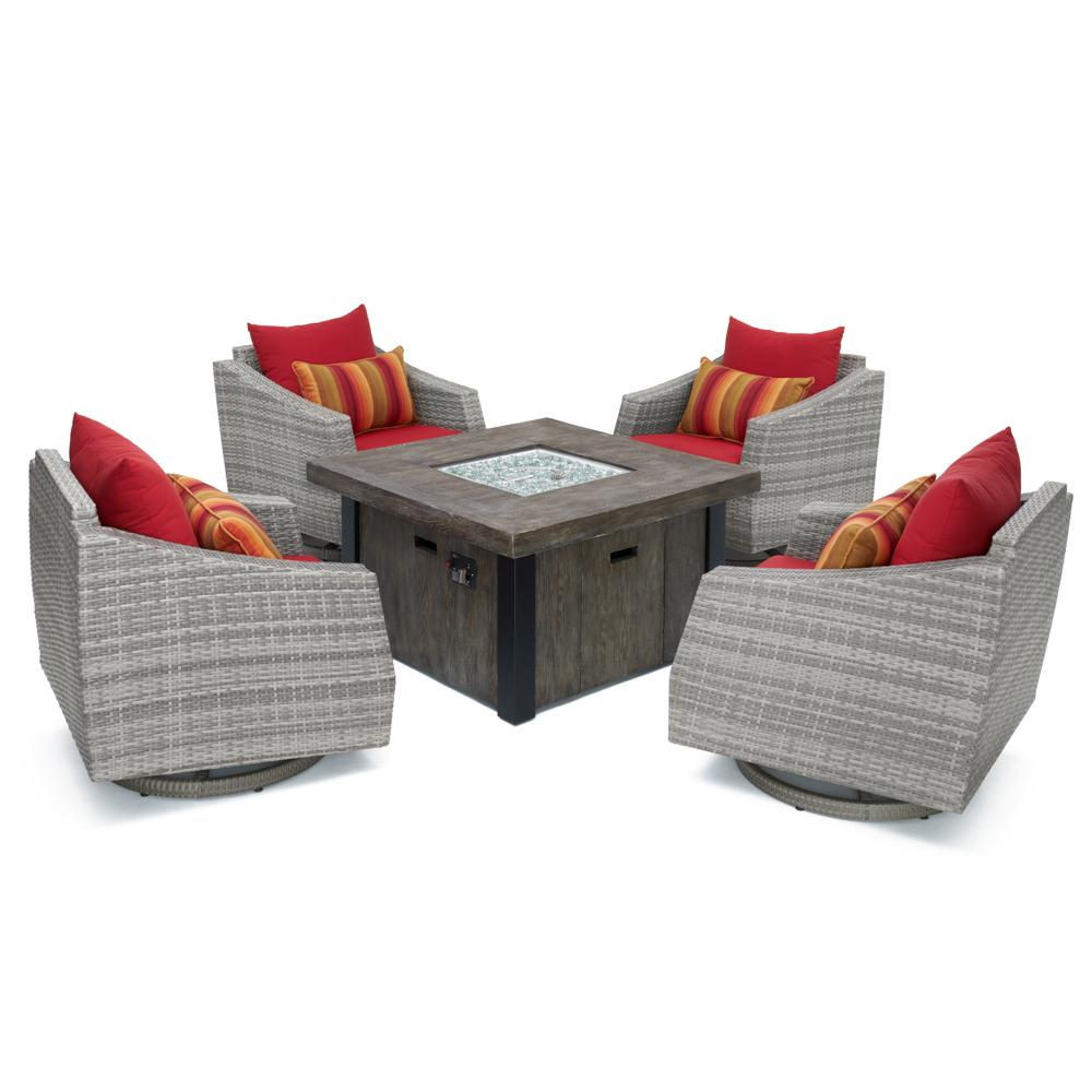 Cannes 5pc Motion Fire Chat Set - Sunset Red