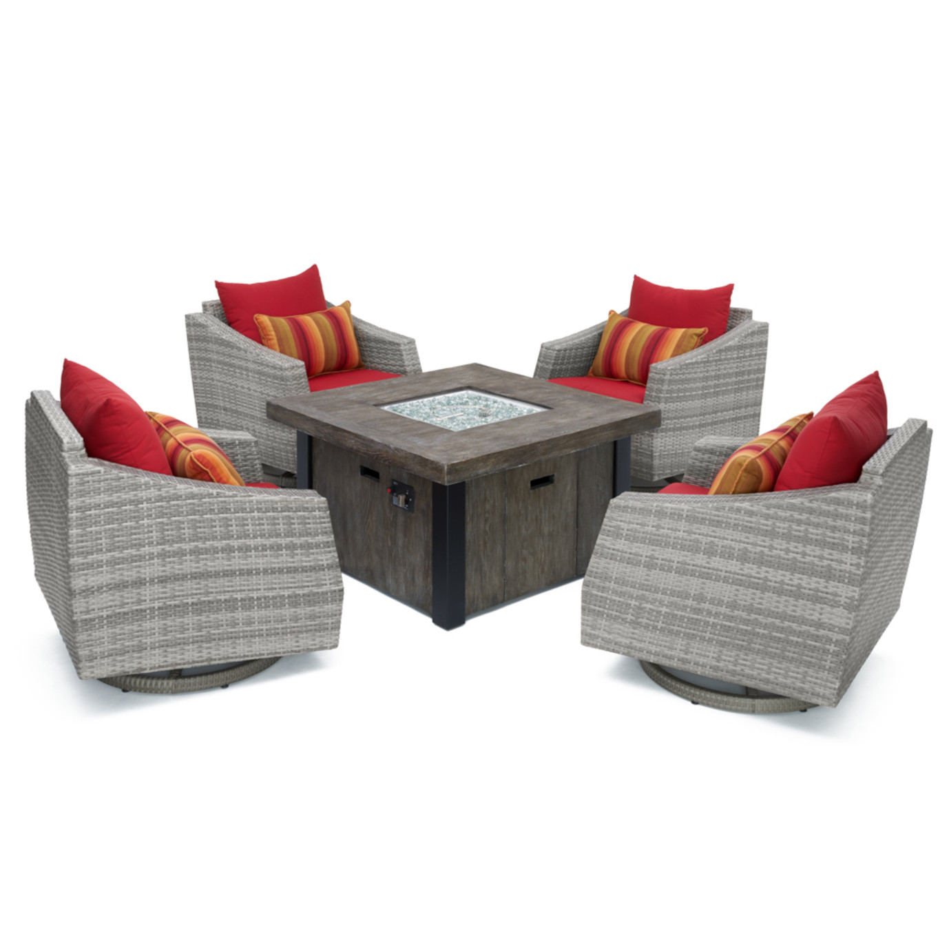 Cannes™ 5 Piece Motion Fire Chat Set - Sunset Red