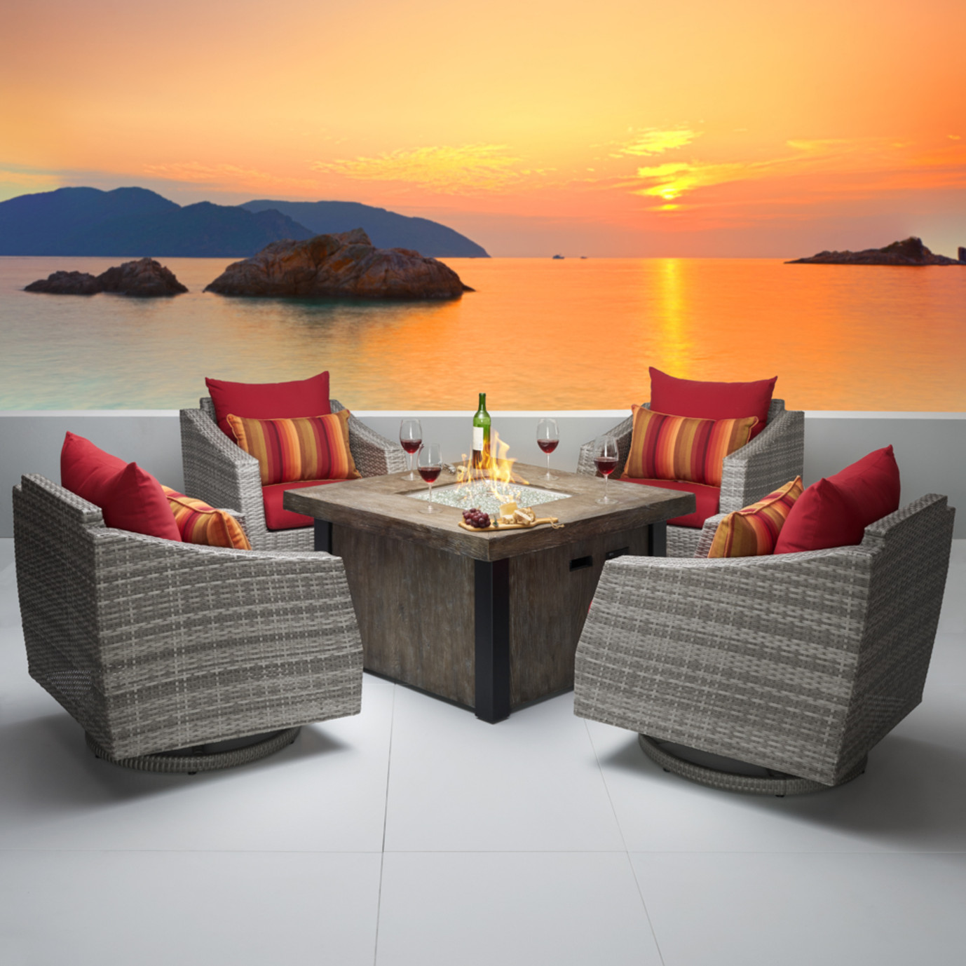 Cannes™ 5pc Motion Fire Chat Set - Sunset Red