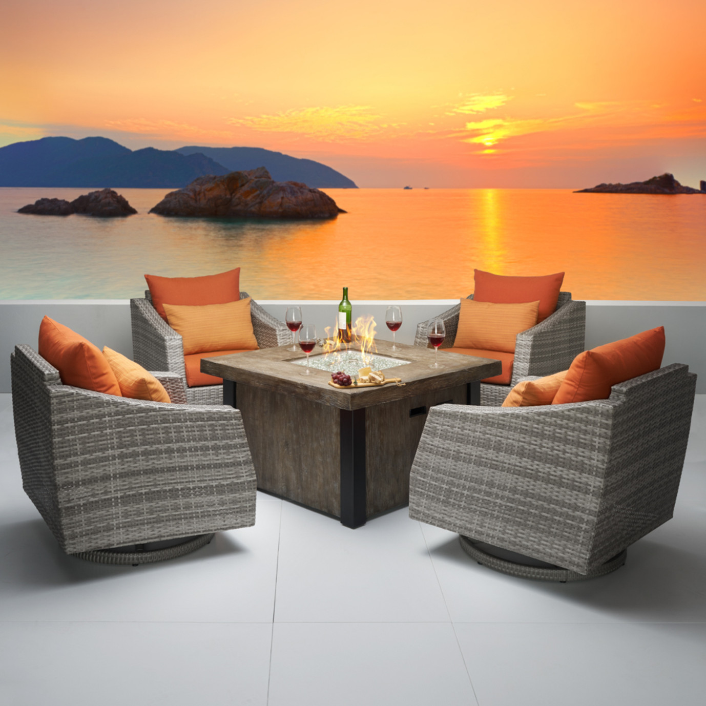 Cannes™ 5pc Motion Fire Chat Set - Tikka Orange