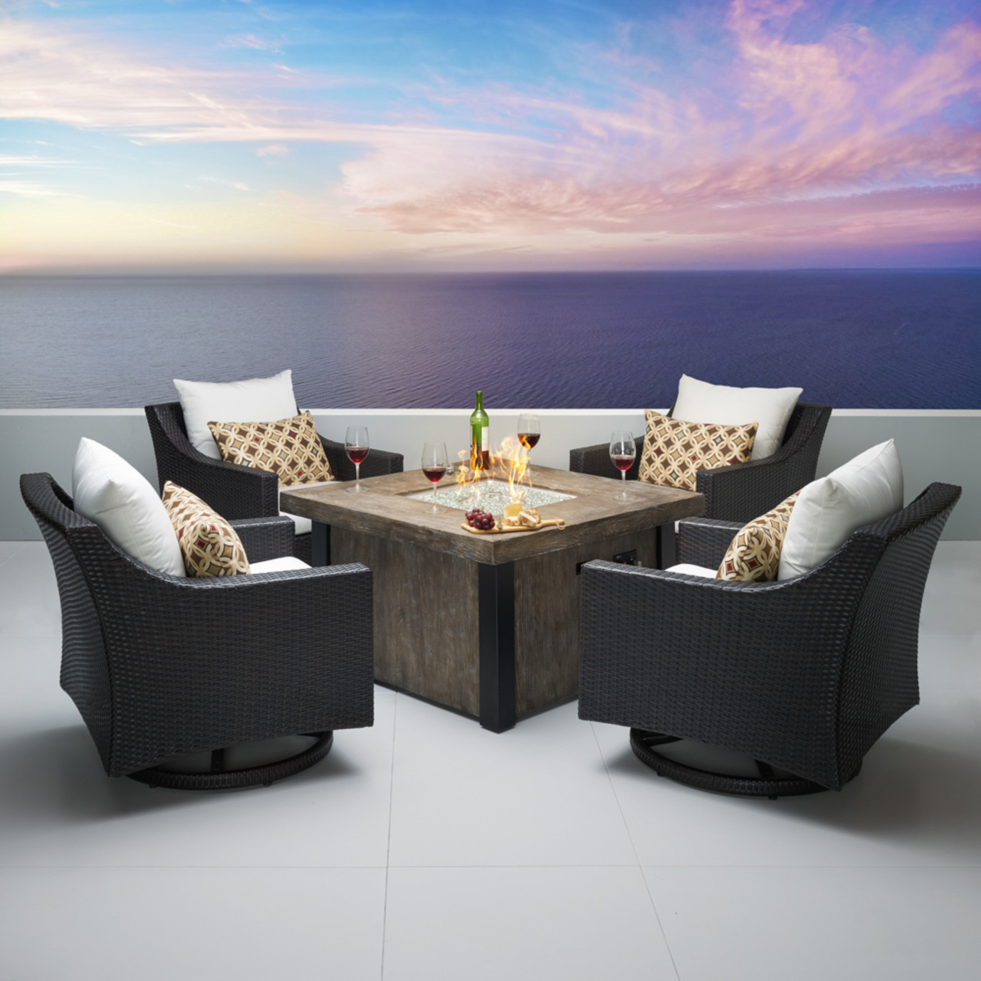 Deco™ 5 Piece Motion Fire Chat Set - Moroccan Cream