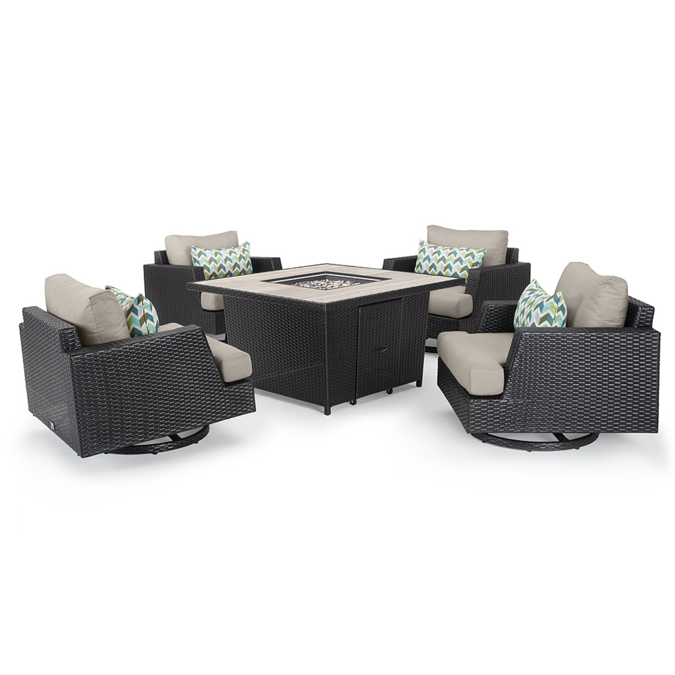 Portofino™ Comfort 5pc Fire Chat Set - Espresso Taupe
