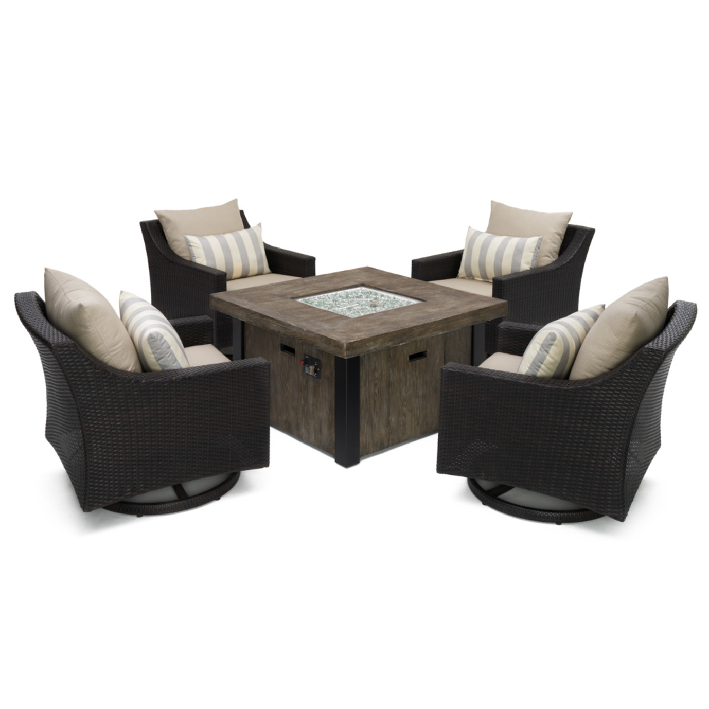 Deco™ 5 Piece Motion Fire Chat Set in Slate Gray
