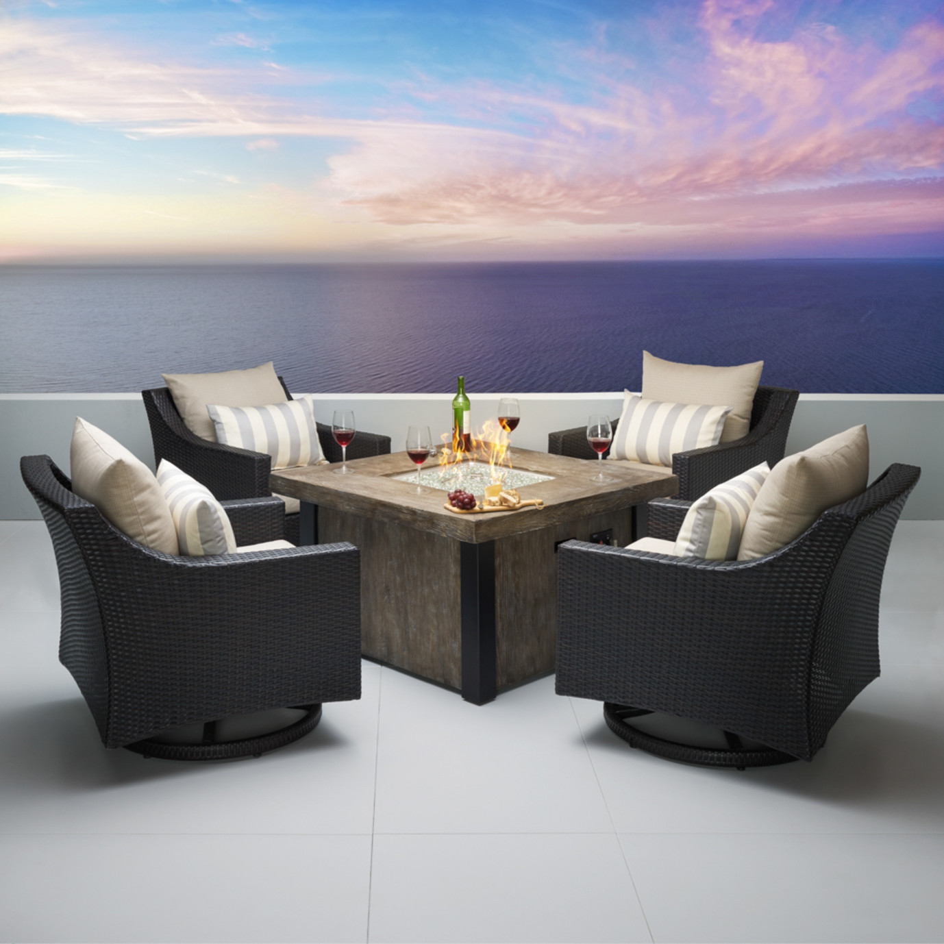 Deco™ 5pc Motion Fire Chat Set in Slate Grey