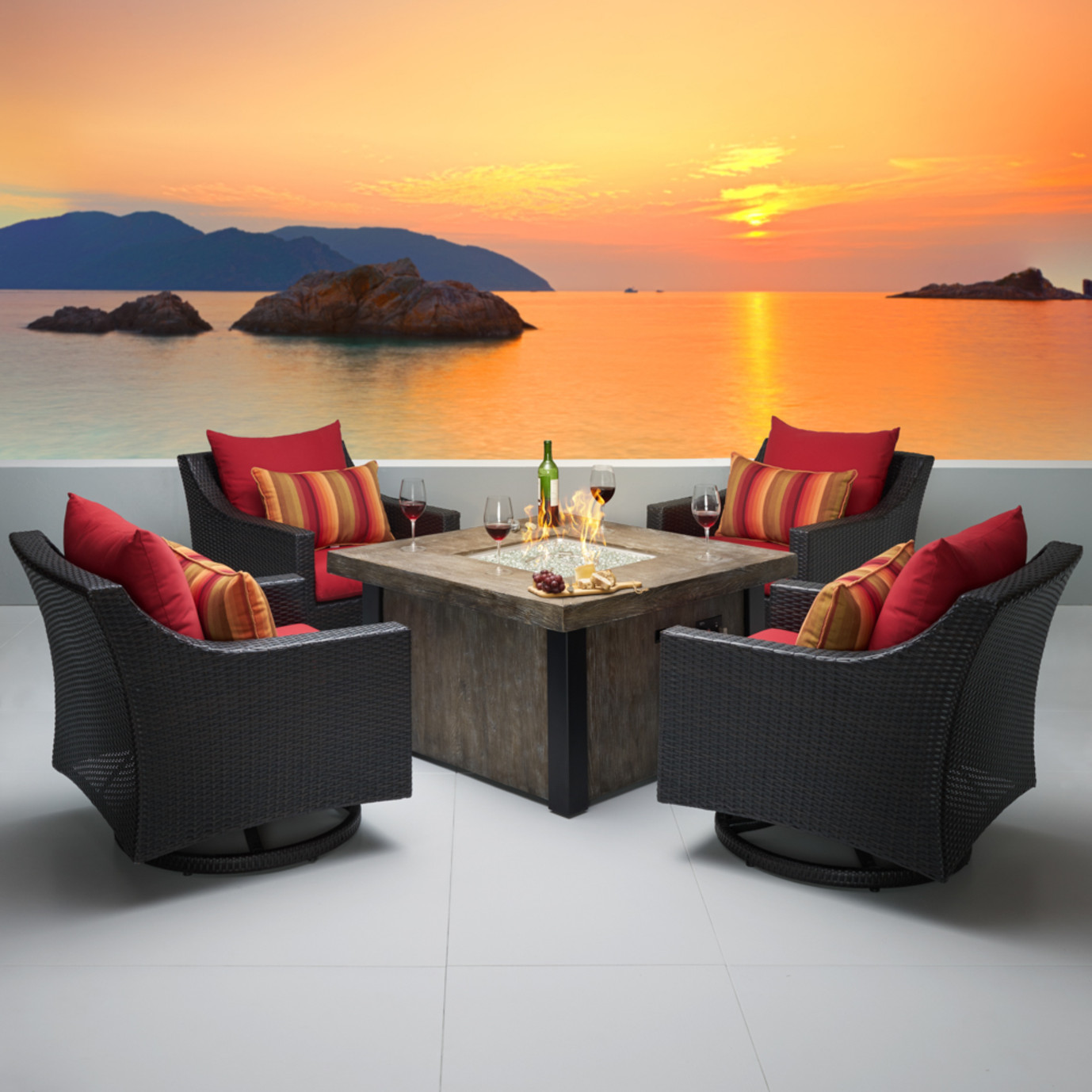 Deco™ 5 Piece Motion Fire Chat Set - Sunset Red