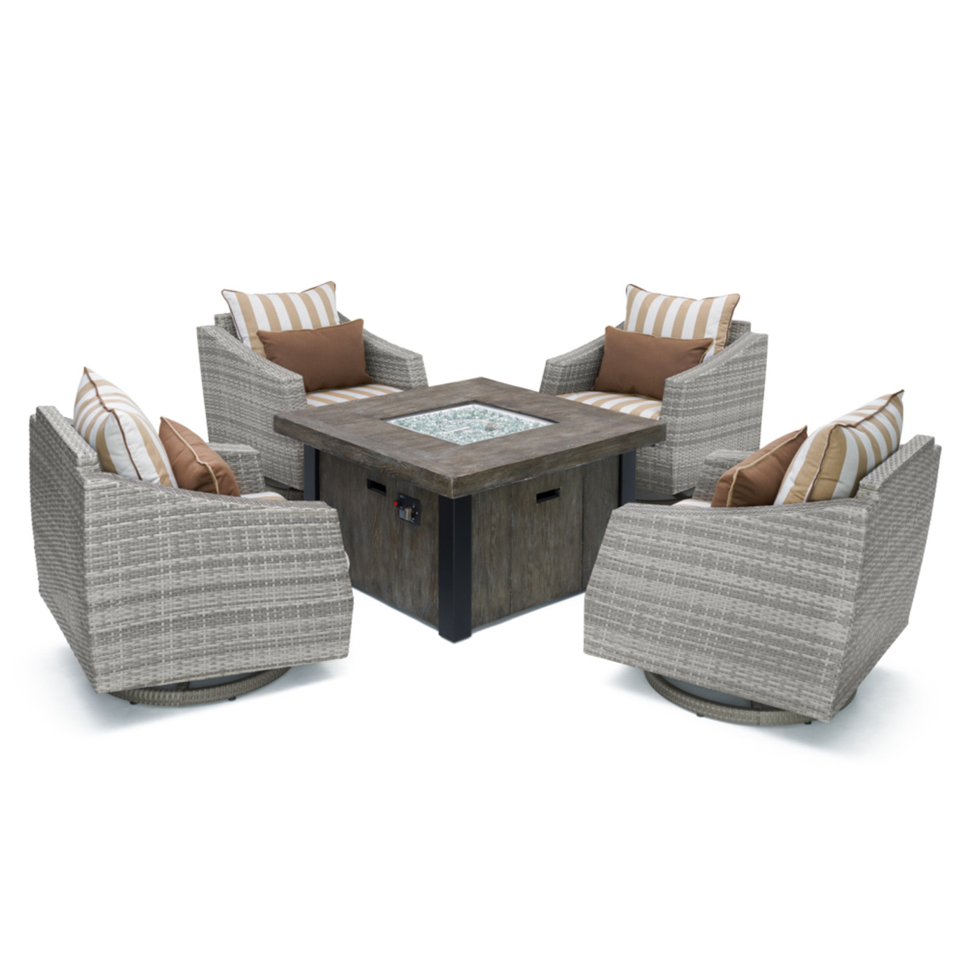 Cannes™ Deluxe 5 Piece Motion Fire Chat Set - Maxim Beige