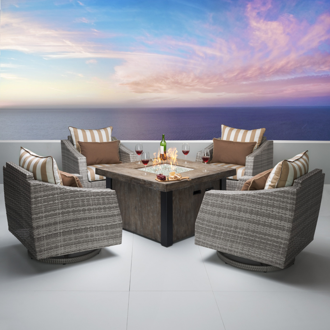 Cannes™ Deluxe 5pc Motion Fire Chat Set - Maxim Beige