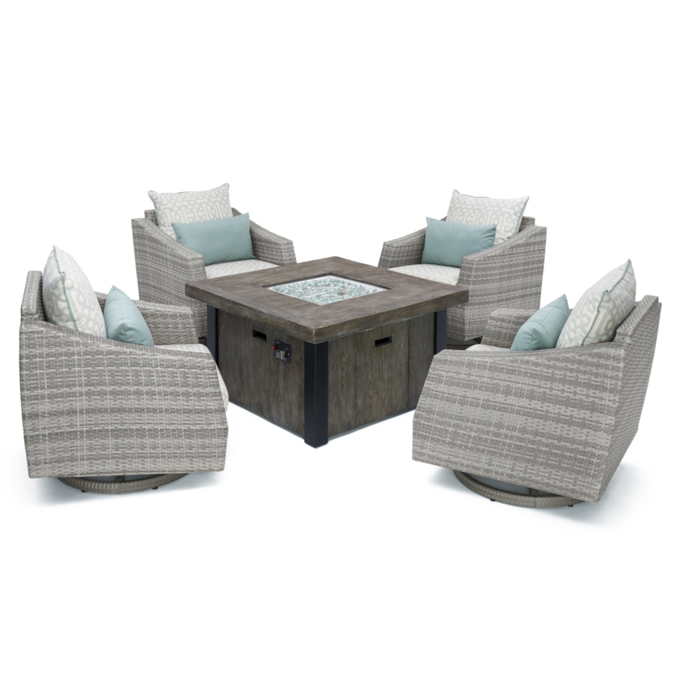 Cannes™ Deluxe 5 Piece Motion Fire Chat Set - Spa Blue