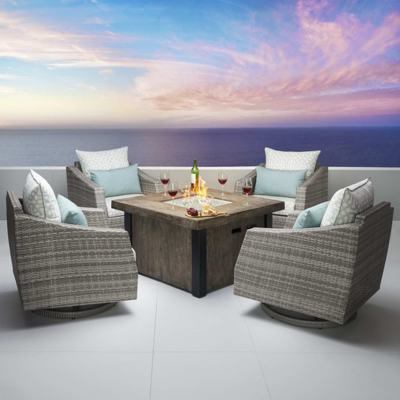 Cannes™ Deluxe 5pc Motion Fire Chat Set - Spa Blue