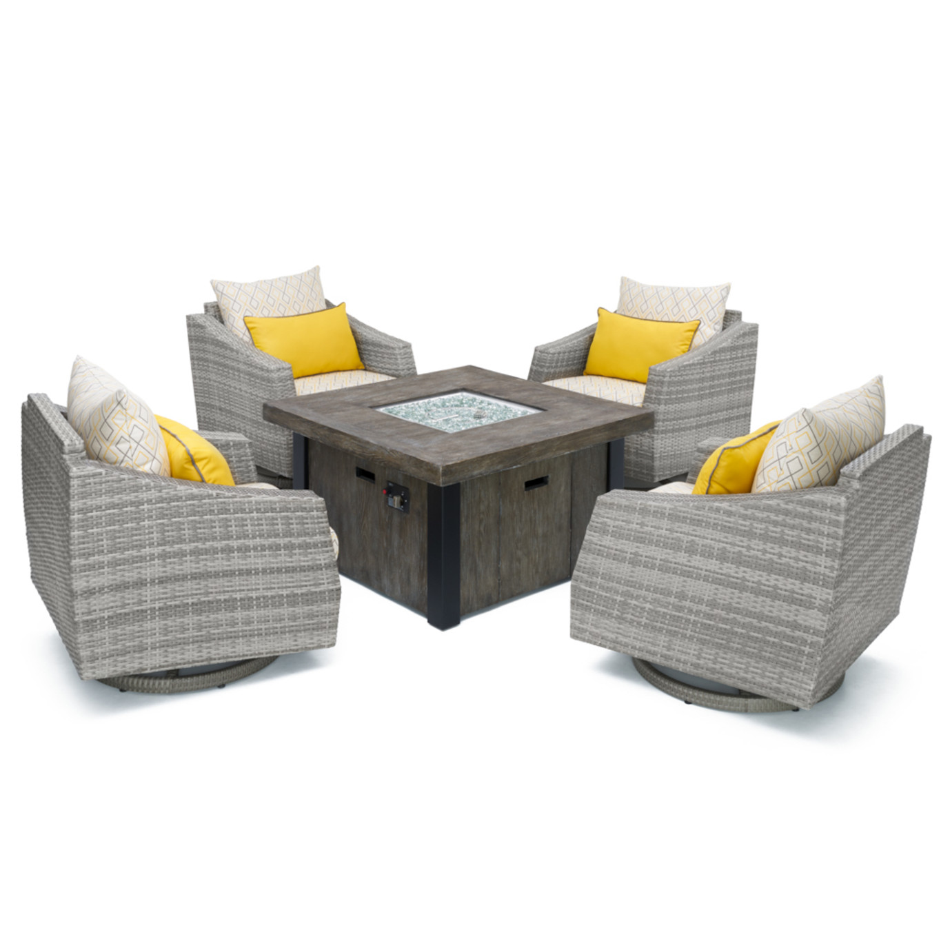 Cannes™ Deluxe 5pc Motion Fire Chat Set - Sunflower Yellow