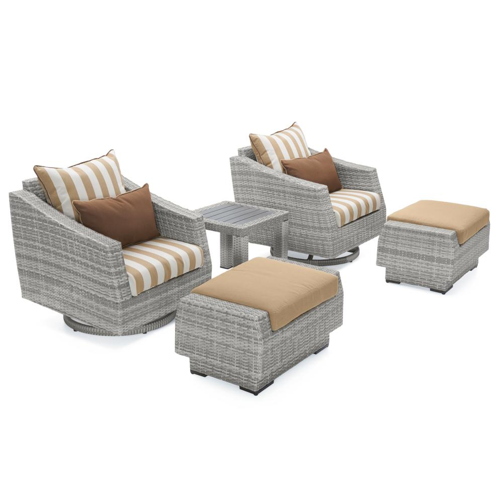 Cannes Deluxe 5pc Motion Club & Ottoman - Maxim Beige