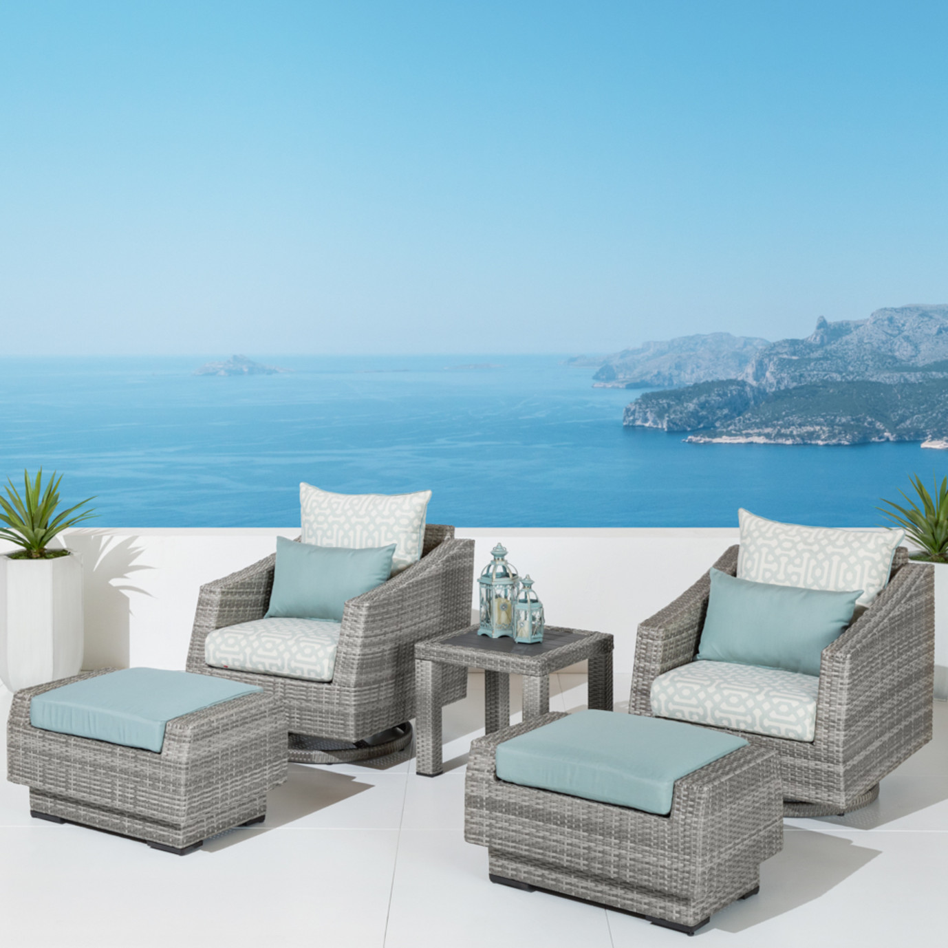 Cannes™ Deluxe 5pc Motion Club & Ottoman Set - Spa Blue