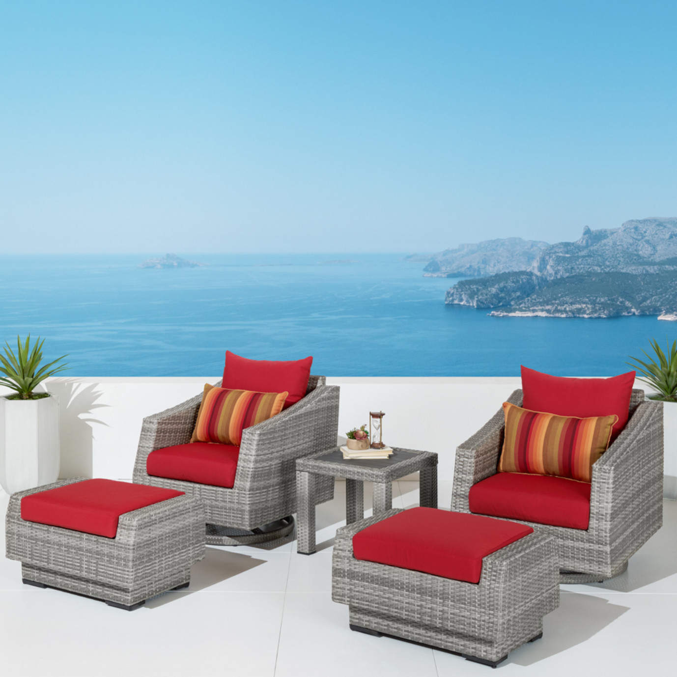 Cannes™ 5pc Deluxe Motion Club Chair & Ottoman Set - Sunset Red