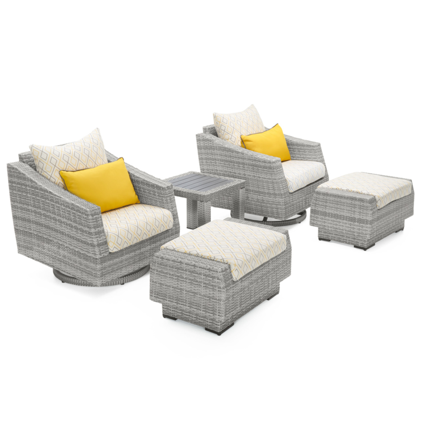 Cannes™ Deluxe 5pc Motion Club & Ottoman Set - Sunflower Yellow