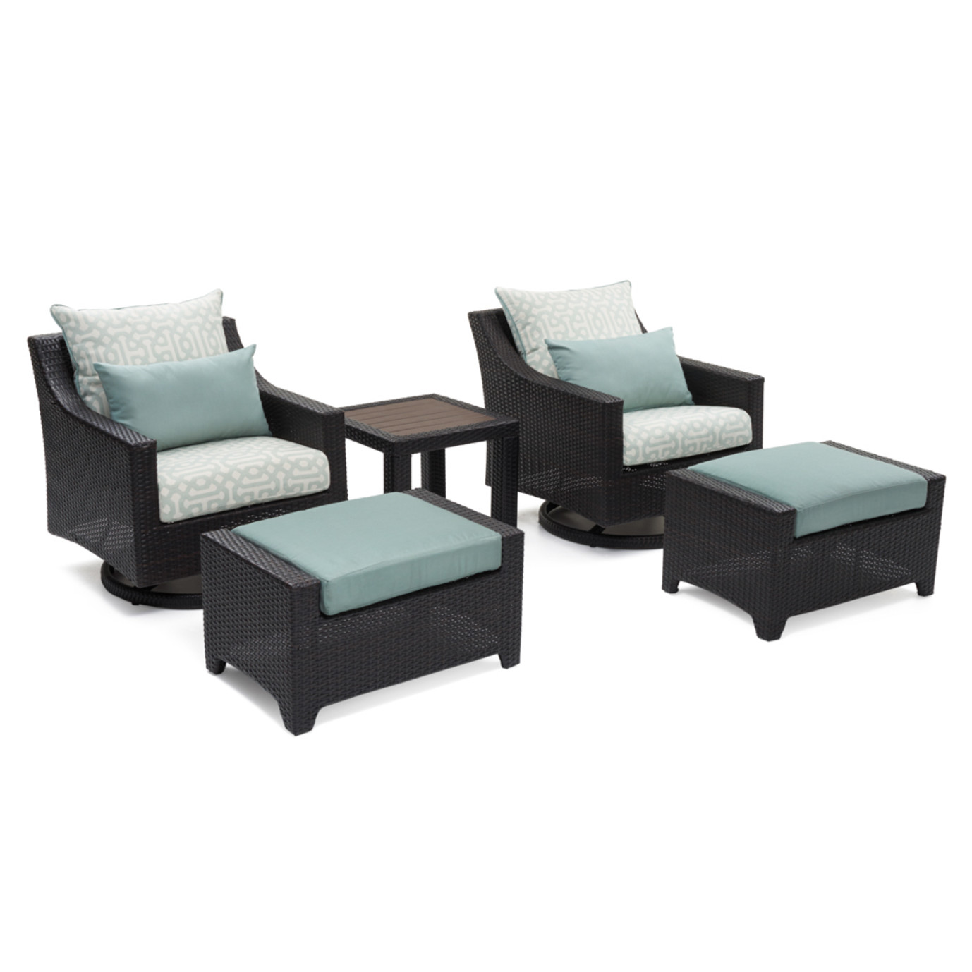 Deco™ Deluxe 5 Piece Motion Club & Ottoman Set - Spa Blue