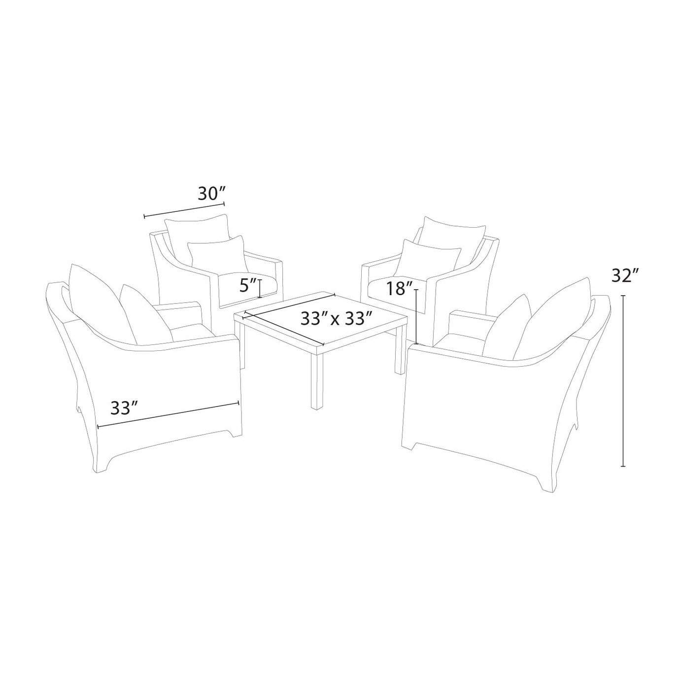 Deco™ 5 Piece Club & Table Chat Set - Charcoal Gray