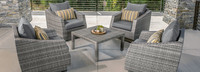 Cannes™ 5 Piece Club & Table Chat Set - Charcoal Gray
