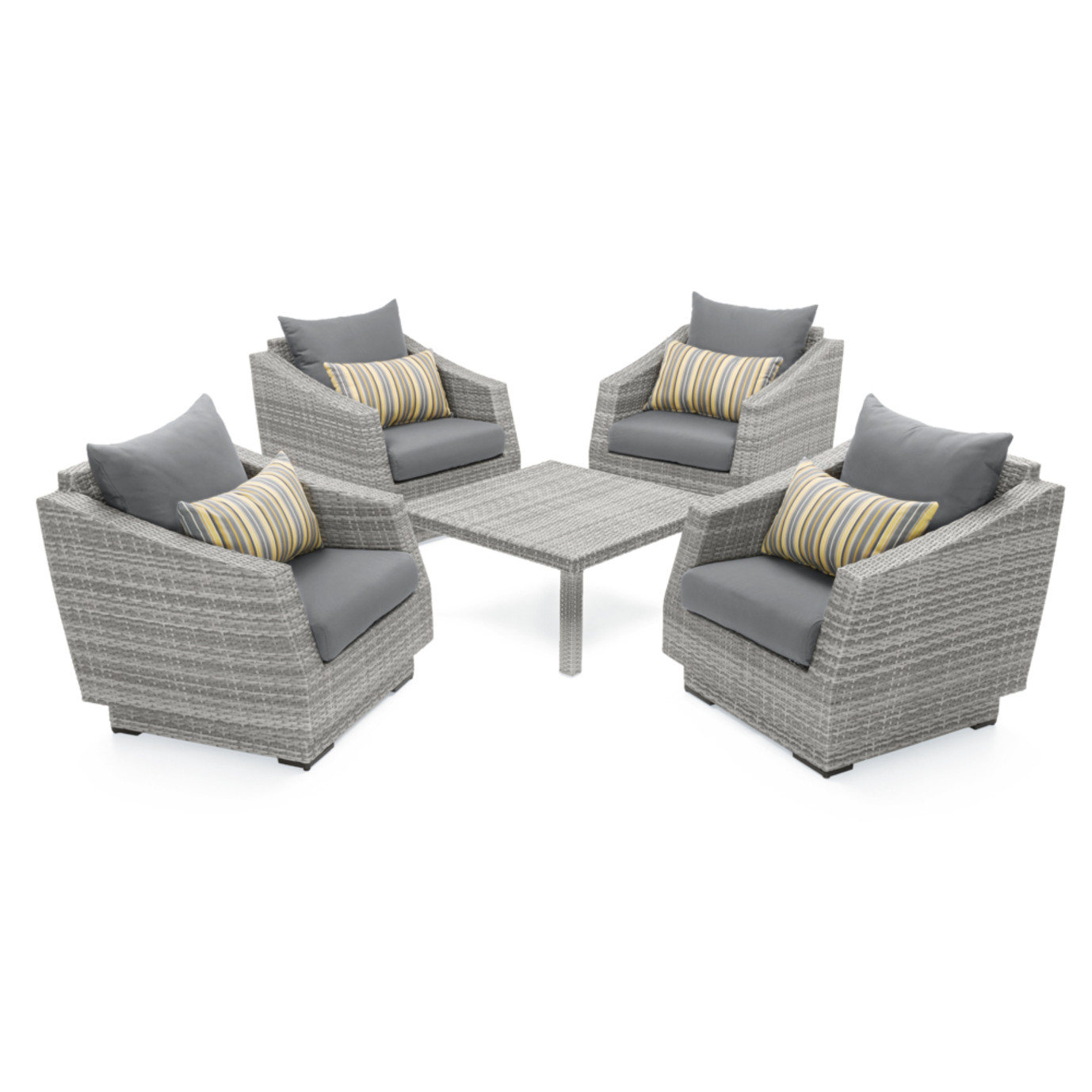 Cannes™ 5pc Club & Table Chat Set - Charcoal Gray
