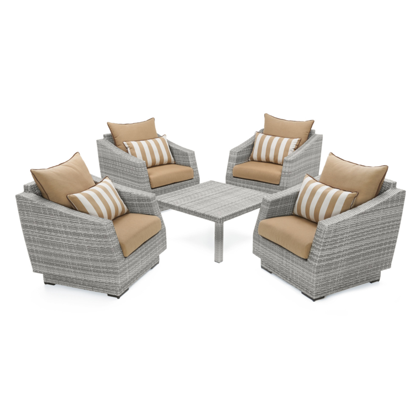 Cannes™ 5 Piece Club & Table Chat Set - Maxim Beige