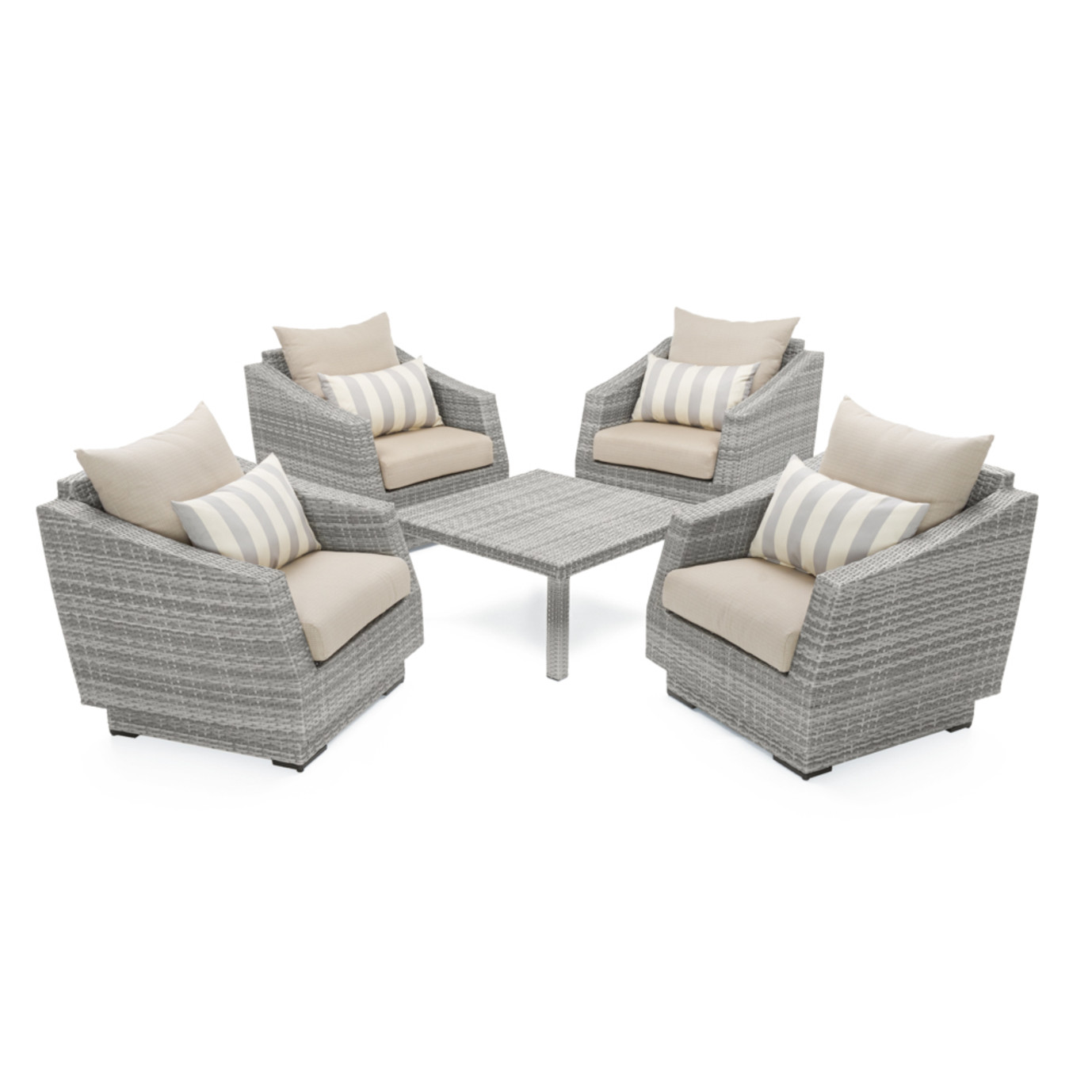 Cannes™ 5 Piece Club & Table Chat Set - Slate Gray