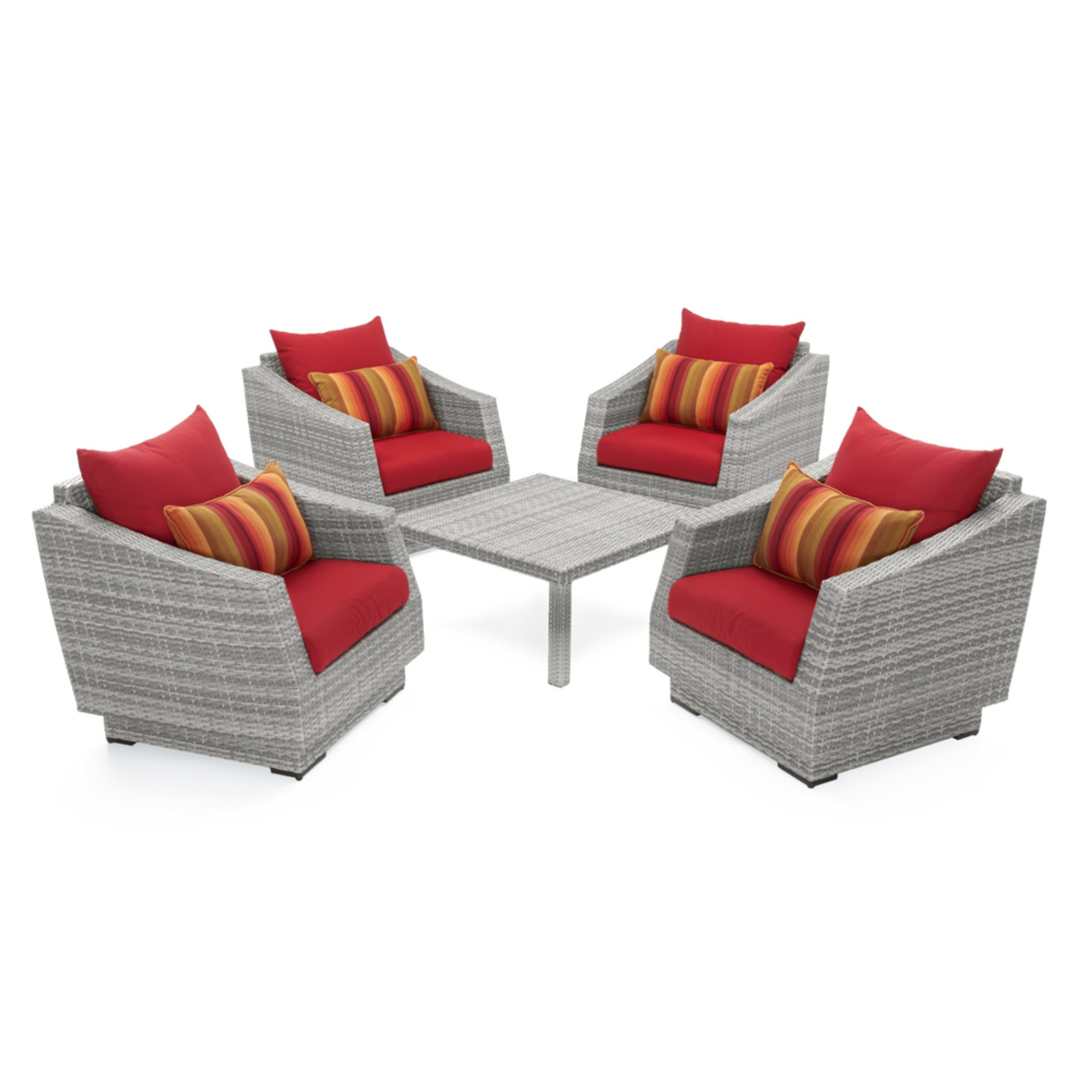 Cannes™ 5pc Club & Table Chat Set - Sunset Red