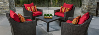 Deco™ 5 Piece Club & Table Chat Set - Sunset Red