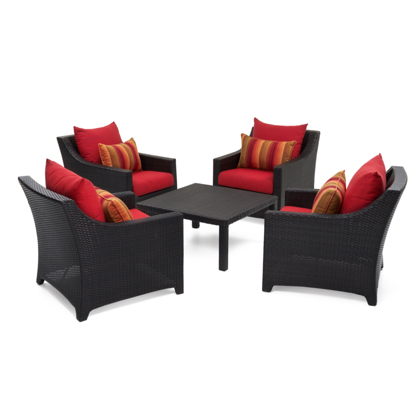 Deco® 5 Piece Club & Table Chat Set - Sunset Red