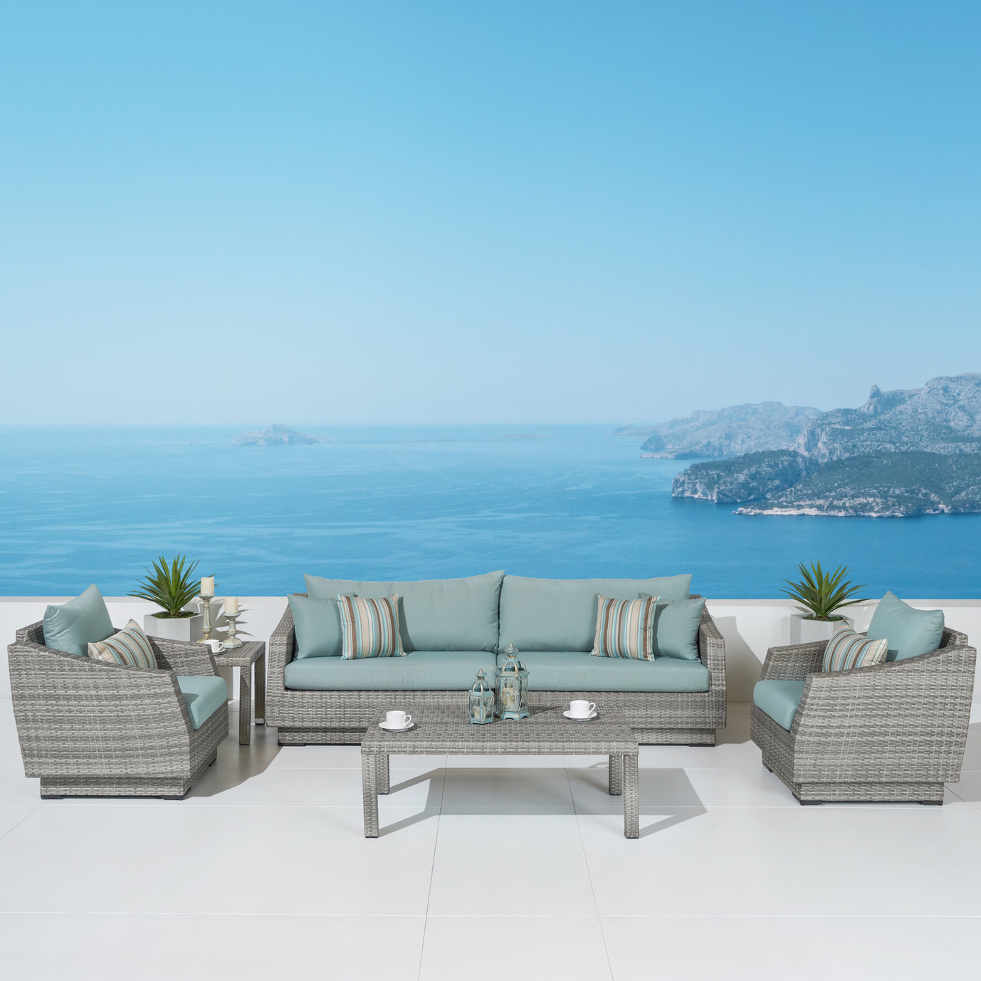 Cannes™ 6 Piece Sofa & Club Chair Set in Bliss Blue