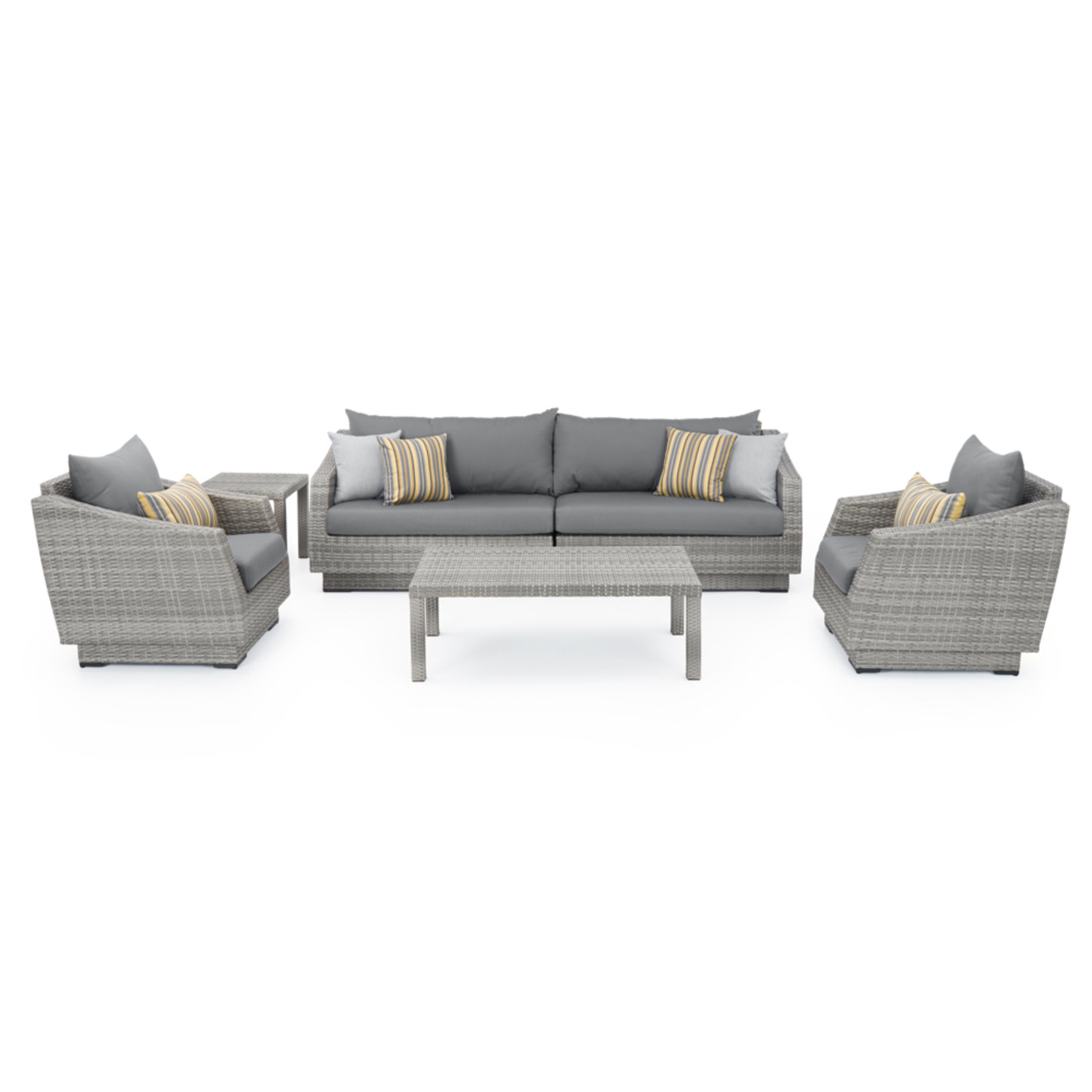 Cannes™ 6pc Sofa & Club Chair Set - Charcoal Gray