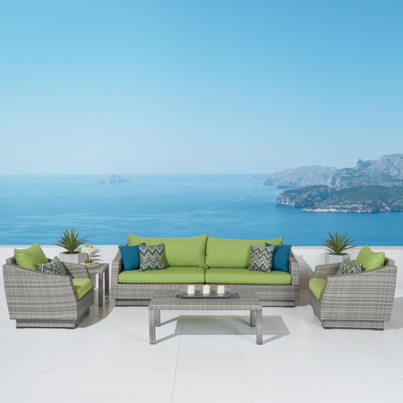 Cannes™ 6 Piece Sofa & Club Chair Set in Ginkgo Green