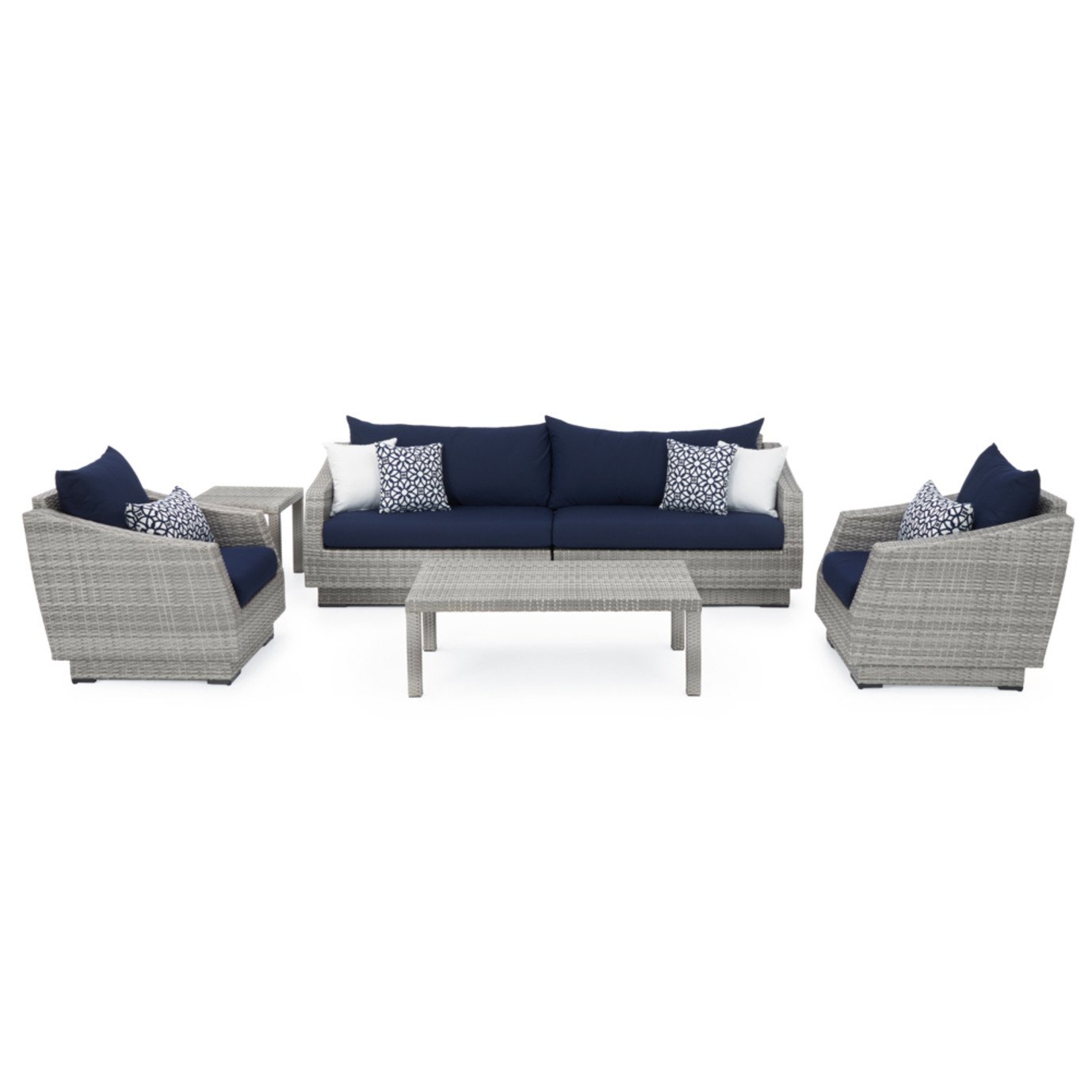 Cannes™ 6pc Sofa and Club Chair Set - Navy Blue