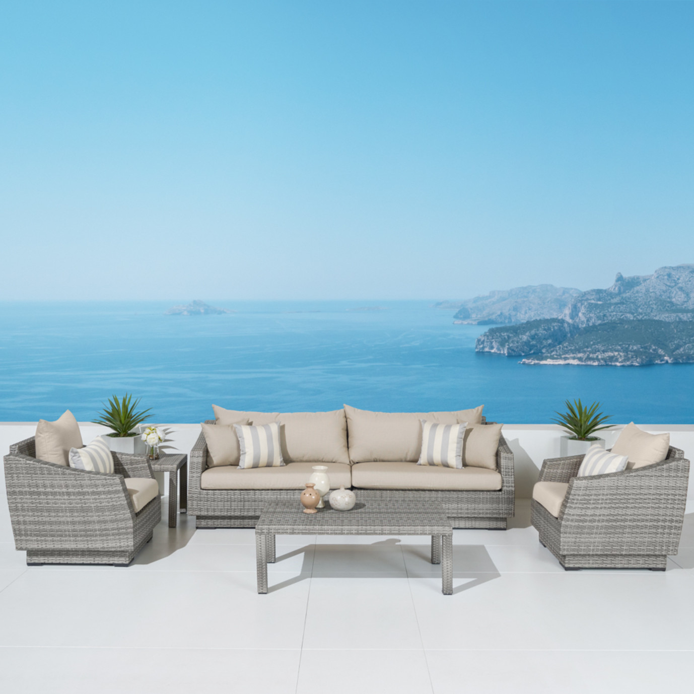 Cannes™ 6pc Sofa & Club Chair Set in Slate Gray