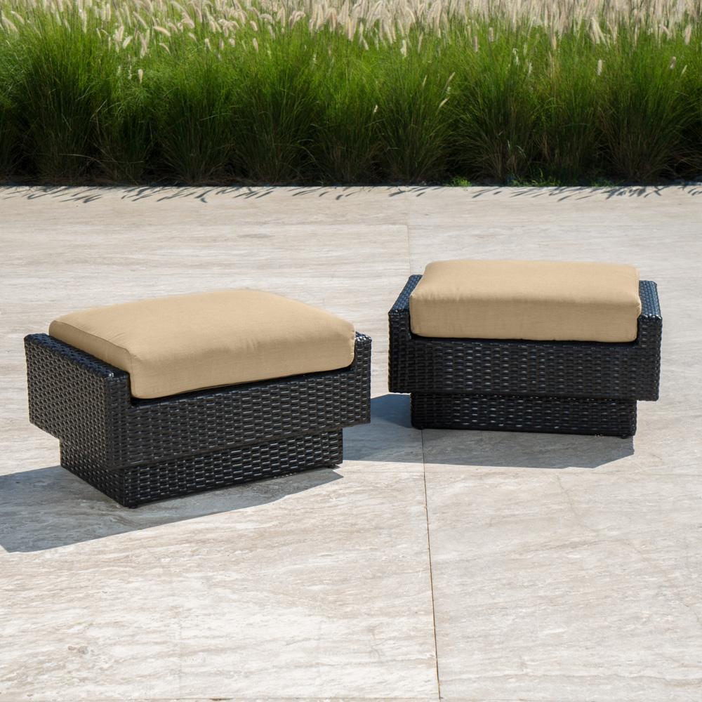 Portofino™ Comfort Club Ottomans - Heather Beige - Outdoor Furniture by RST Brands
