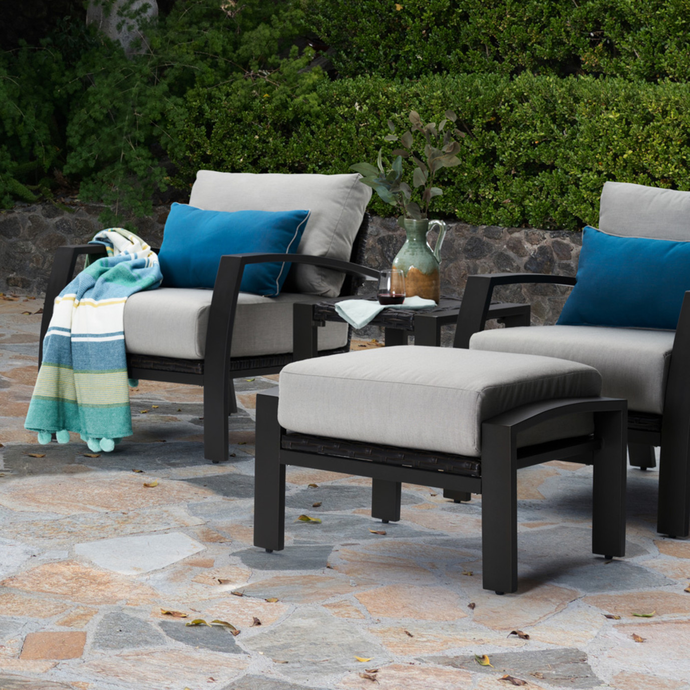 Portofino Repose Open Club Ottomans - Dove Gray