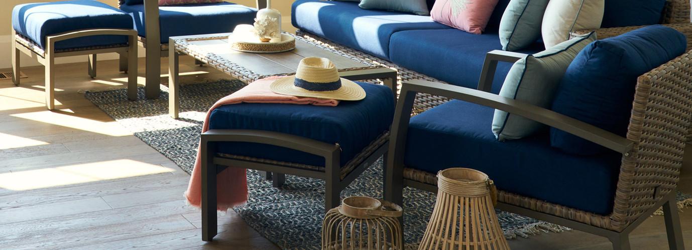 Portofino® Repose Open Club Ottomans - Laguna Blue