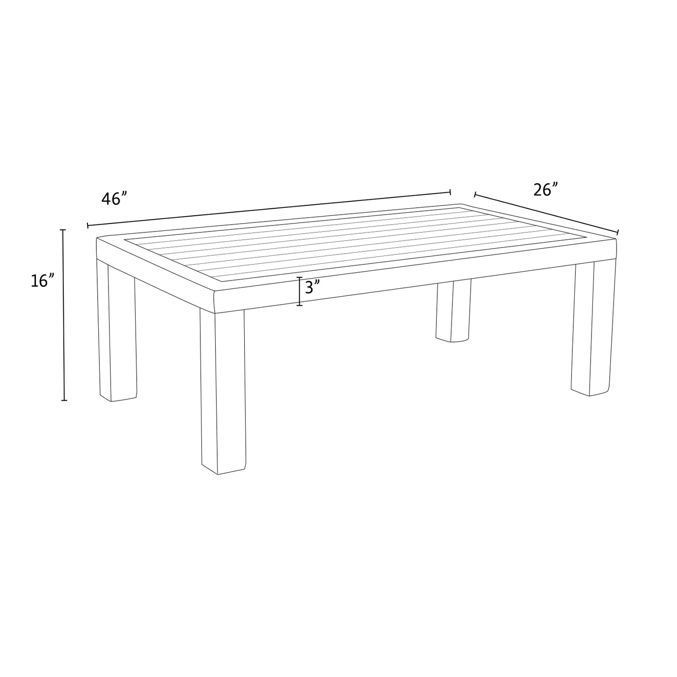Deco™ Deluxe Wood Top Coffee Table