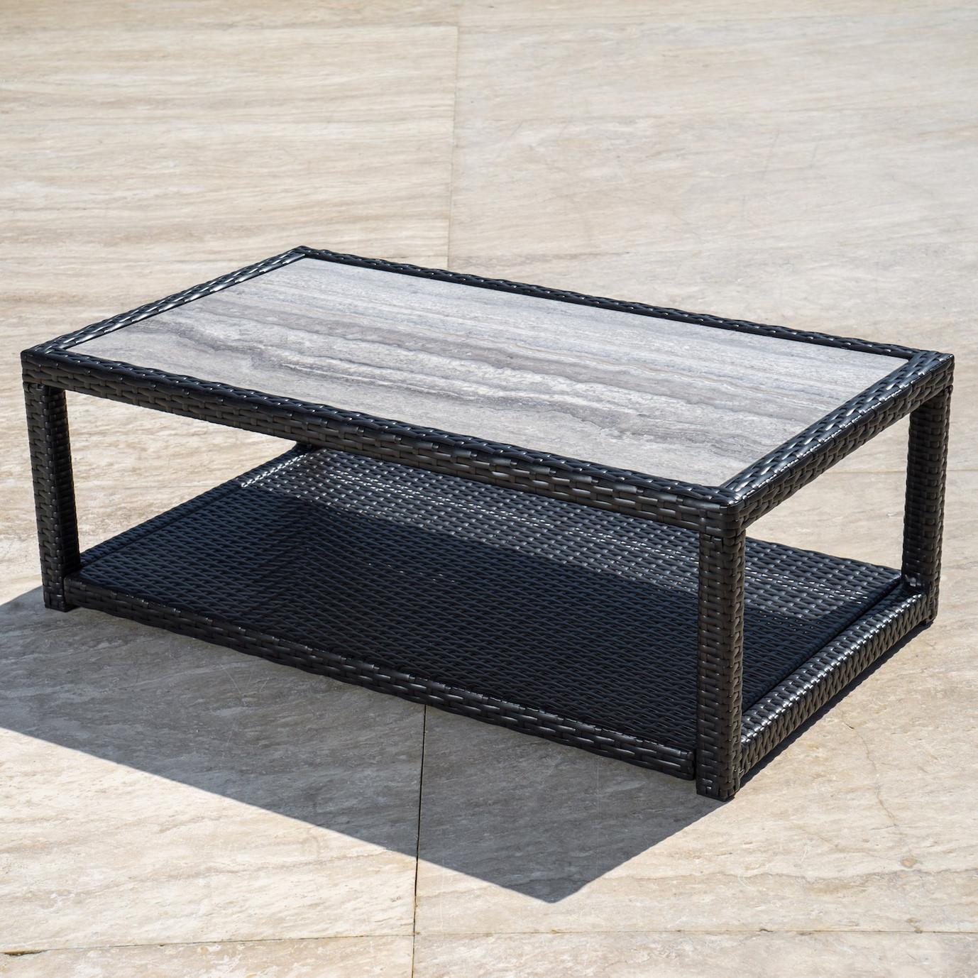 Portofino™ Comfort 26x46 Stone Top Coffee Table - Espresso Taupe