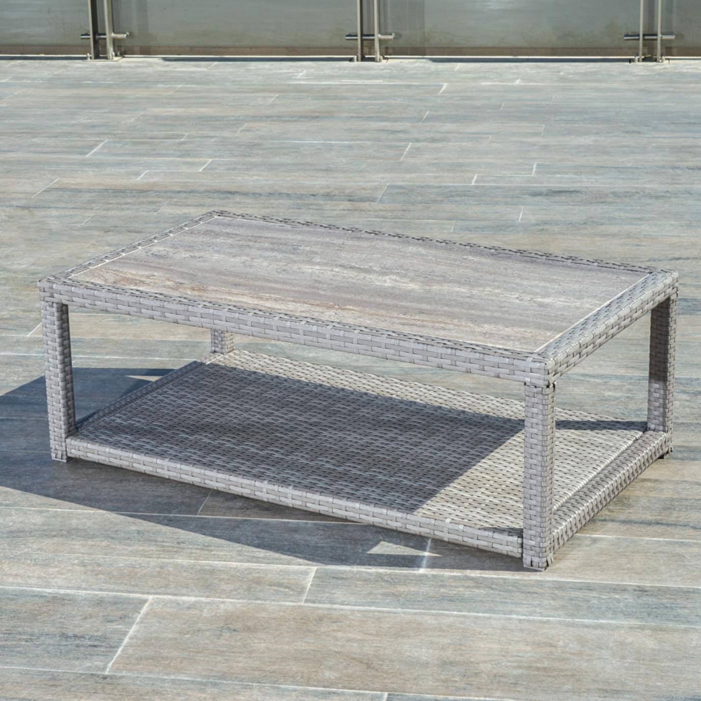 Portofino™ Comfort 26x46 Stone Top Coffee Table - Grey