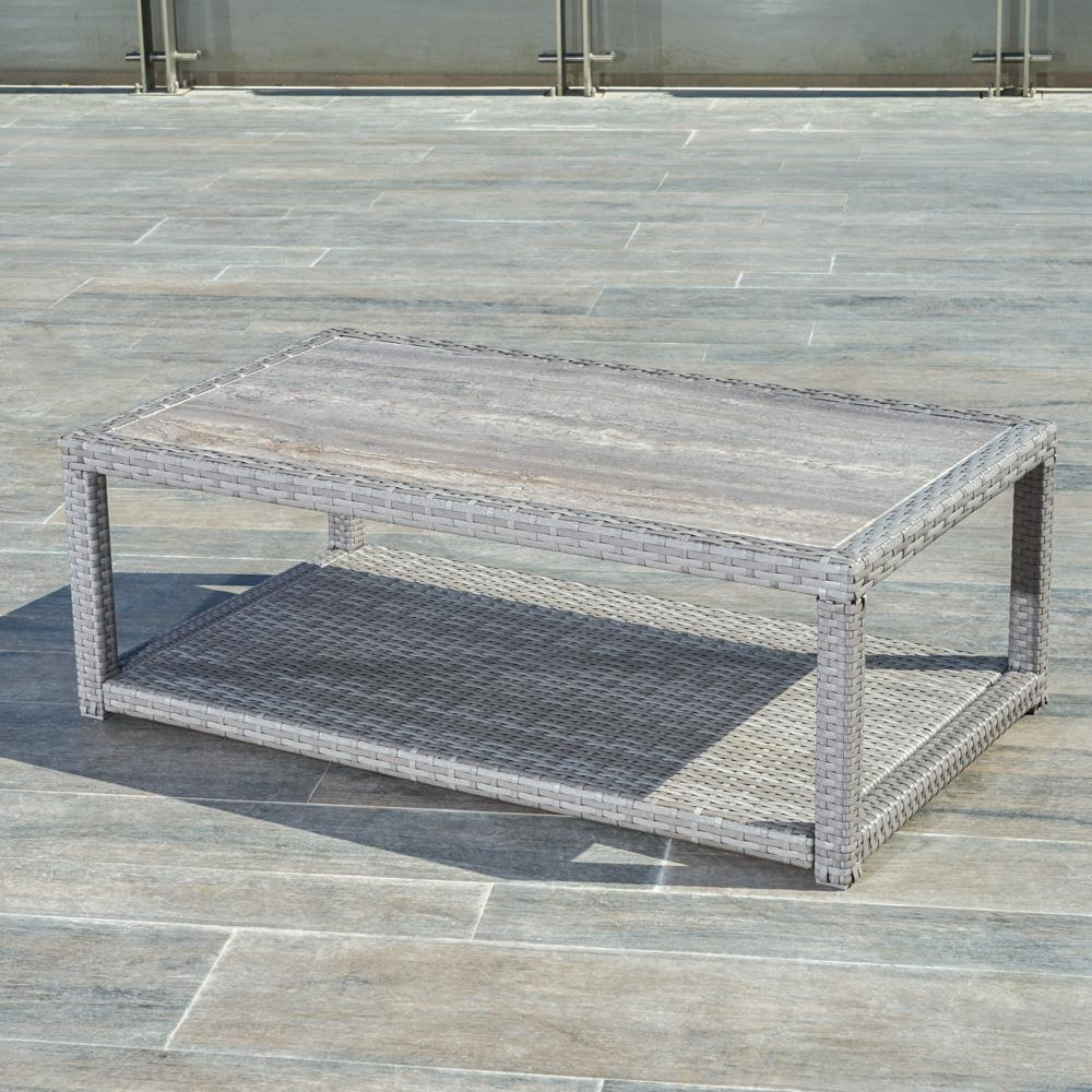 ... Portofino™ Comfort 26x46 Stone Top Coffee Table   Grey ...