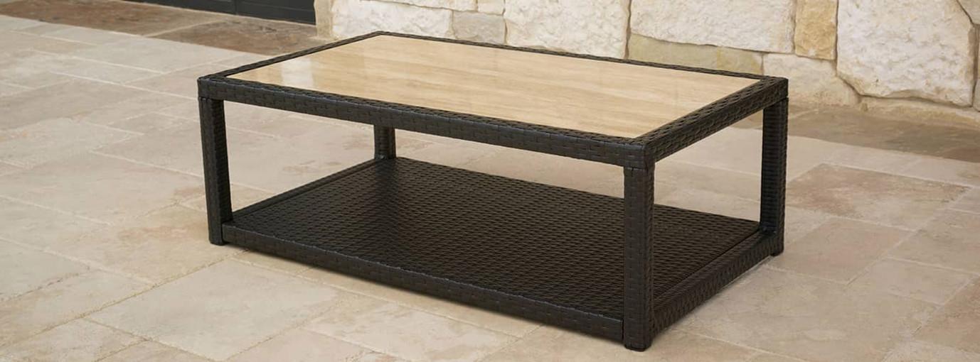 Portofino® Comfort 26x46 Stone Top Coffee Table - Heather Beige
